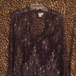 Worth lace and bejeweled blouse with camisole